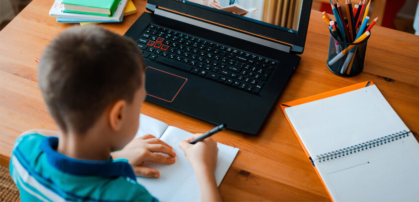 Student learning remotely at home